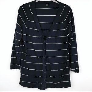 Talbots | Women's Navy/White Striped Cardigan Sz L